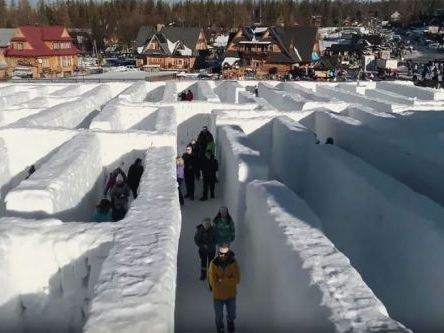 The World's Largest Snow Labyrinth Opens In Poland