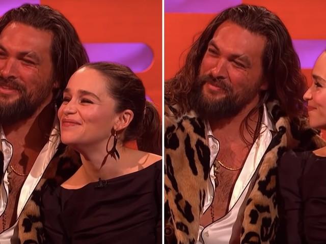 "Prepare to Melt: Jason Momoa Says He ""Always"" Visits Emilia Clarke When He's in London"