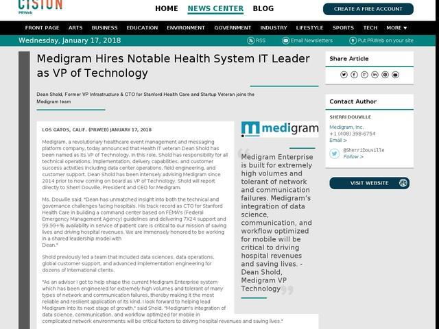 Medigram Hires Notable Health System IT Leader as VP of Technology