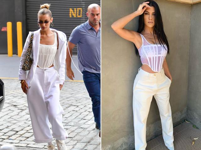 Kourtney Kardashian and Bella Hadid both love this sheer corset top