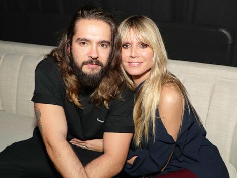 Heidi Klum, 46, Rocks Latex Pants & Cuddles With Husband Tom Kaulitz, 30, At Pre-Grammys Party