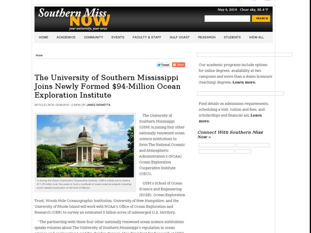 The University of Southern Mississippi Joins Newly Formed $94-Million Ocean Exploration Institute