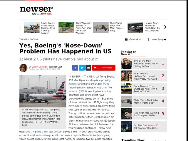 Yes, Boeing's 'Nose-Down' Problem Has Happened in US