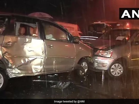 Eight Injured As 3 Cars Collide In Mumbai Due To Heavy Rainfall