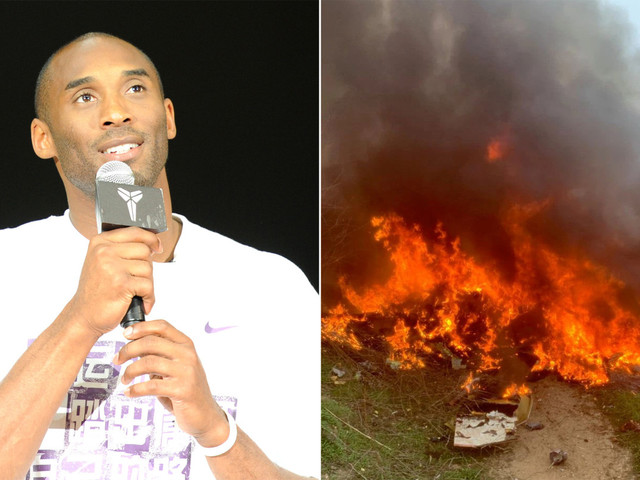 Pictures show Kobe Bryant's helicopter in ball of fire after deadly crash