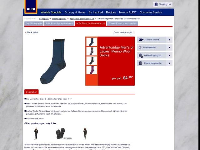 Adventuridge Men's or Ladies' Merino Wool Socks