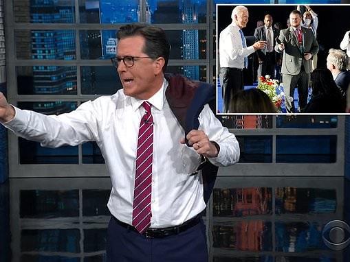 "Stephen Colbert roasts Joe Biden for his '""Grandpa's had it with your lip"" energy'"