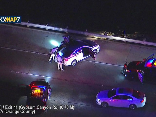 Stolen-car chase ends in crash on EB 91 Freeway near Anaheim-Corona border
