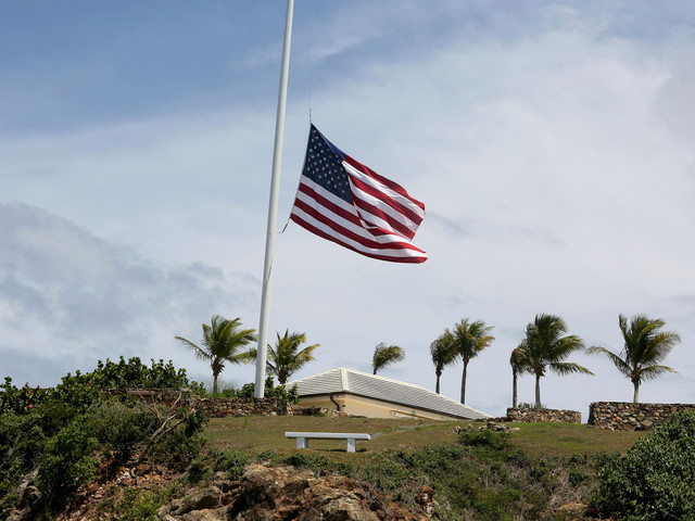 American flags lowered to half-staff on Jeffrey Epstein's private islands