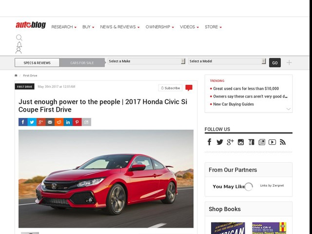 Just enough power to the people | 2017 Honda Civic Si Coupe First Drive