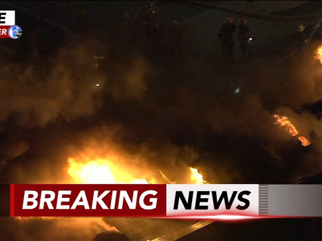 Fire erupts inside industrial building in Hunting Park