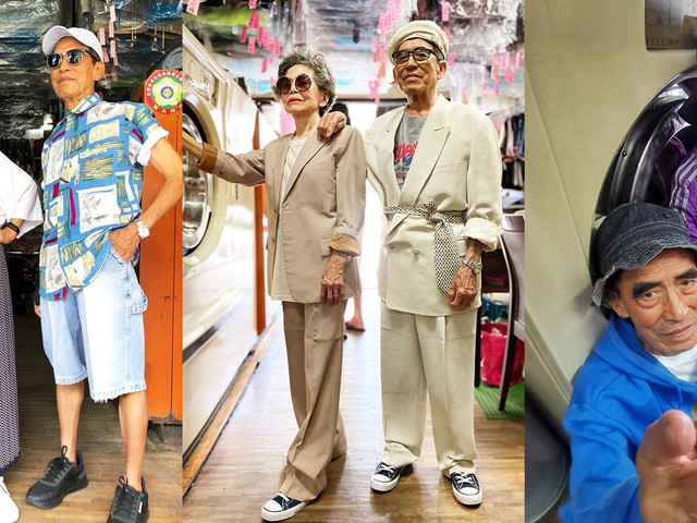 Elderly Couple Shoots Fashion Photos with Clothes Left at Their Laundromat