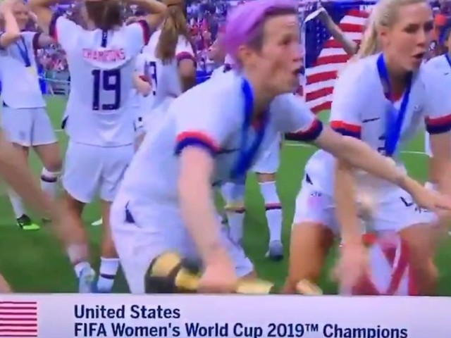US women's soccer player drops American flag between legs and dances to celebrate World Cup title. Benghazi hero is not pleased.