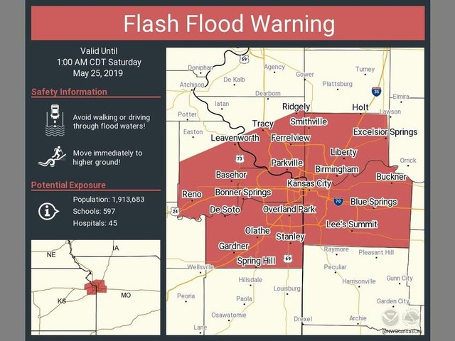 Flash flood warning issued in Kansas City and surrounding area as severe storms approach