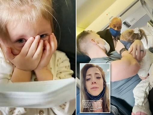 Family is kicked of United flight to New Jersey after toddler refused to wear a mask
