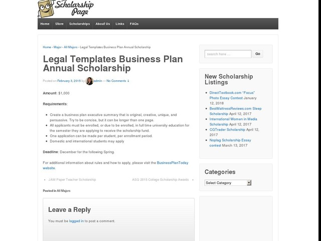 Legal Templates Business Plan Annual Scholarship