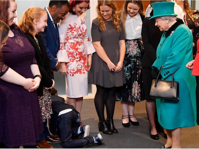 OMG! This Boy Was So Overwhelmed Meeting the Queen, He Dropped to the Floor and Crawled Away