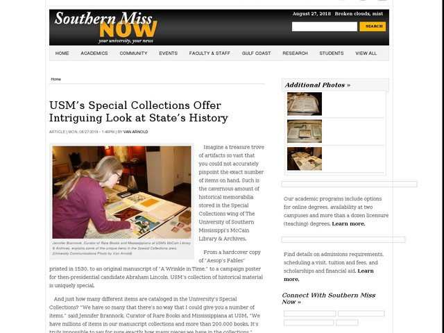 USM's Special Collections Offer Intriguing Look at State's History