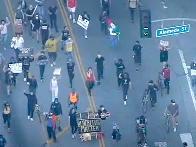 Breaking: Los Angeles erupts in protest over George Floyd death; major highway shut down, police cars attacked