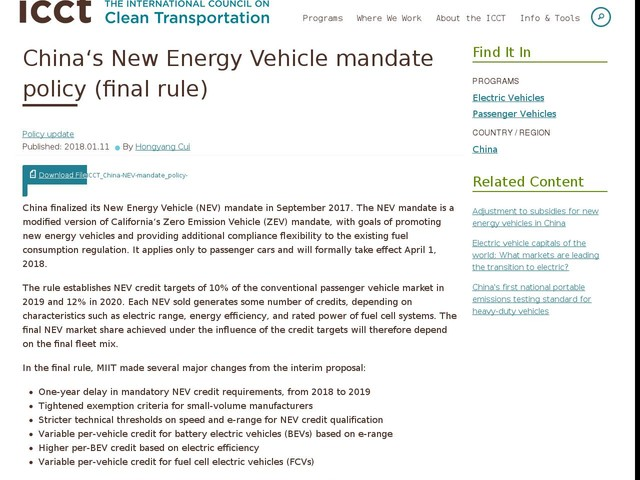 Chinaʻs New Energy Vehicle mandate policy (final rule)