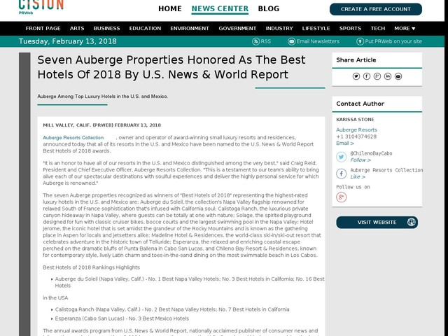 Seven Auberge Properties Honored As The Best Hotels Of 2018 By U.S....