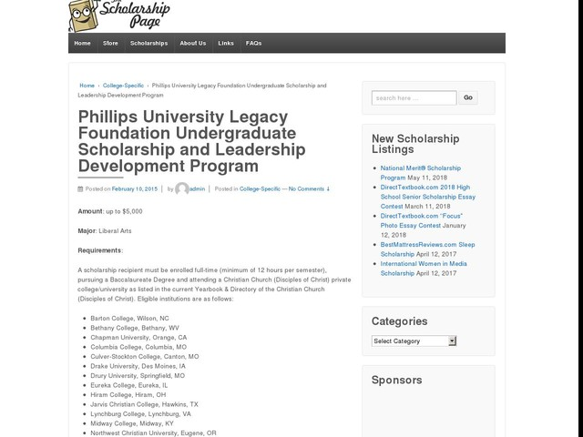 Phillips University Legacy Foundation Undergraduate Scholarship and Leadership Development Program