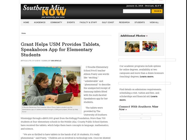 Grant Helps USM Provides Tablets, Speakaboos App for Elementary Students