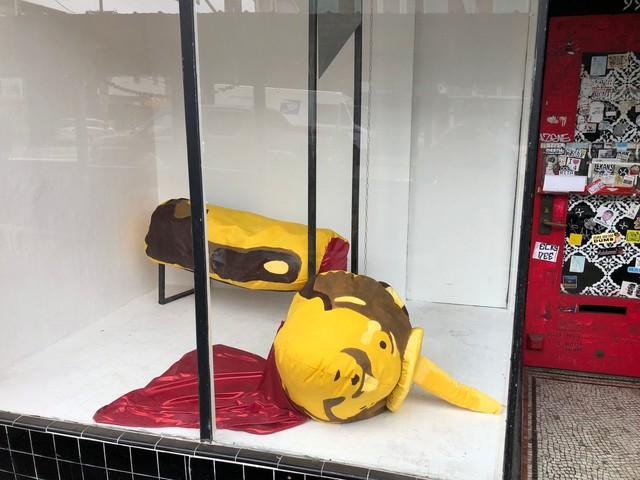 Beheaded Honey Bear On Guillotine Depicted In Valencia Street Window Display