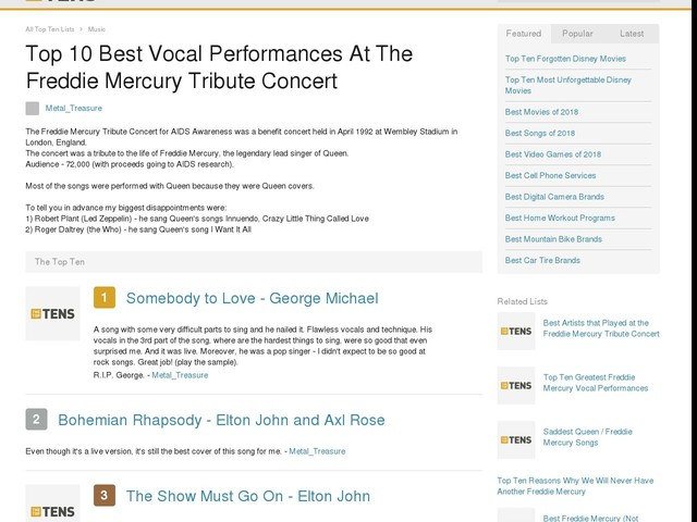Top 10 Best Vocal Performances At The Freddie Mercury Tribute Concert