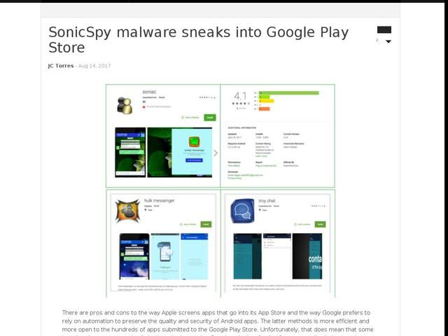 SonicSpy malware sneaks into Google Play Store