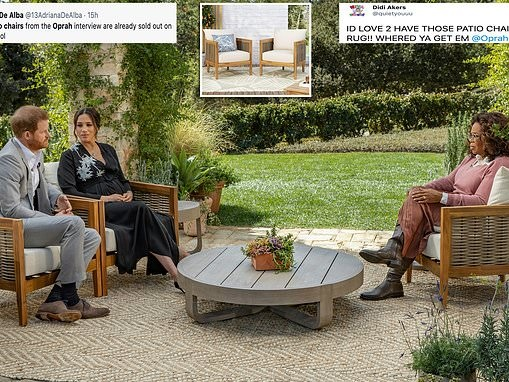 The CHAIRS used in Oprah Winfrey interview with Prince Harry and Meghan Markle have sold out online