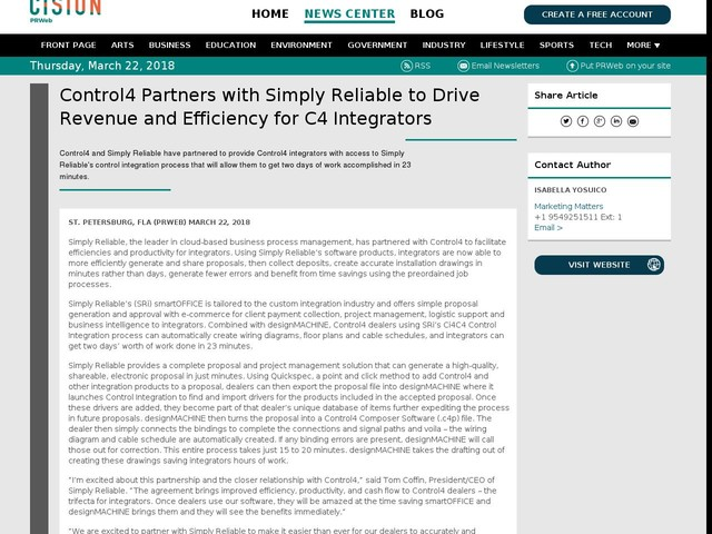 Control4 Partners with Simply Reliable to Drive Revenue and Efficiency...