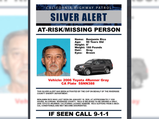 Authorities search for Corona man, 90, who may become disoriented