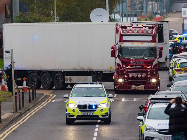 U.K. police say 39 bodies found in truck container believed to be Chinese