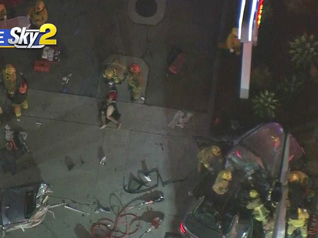 5 Injured In Koreatown Crash That Left Car Wrapped Around Light Pole