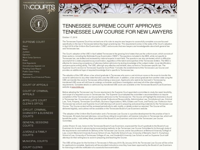 Tennessee Supreme Court Approves Tennessee Law Course for New Lawyers