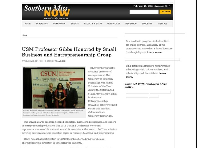 USM Professor Gibbs Honored by Small Business and Entrepreneurship Group