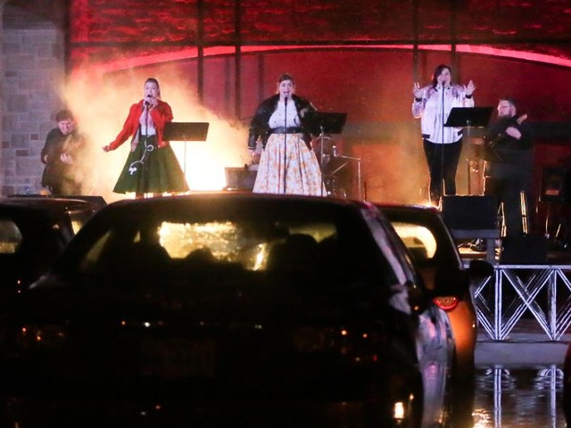 Theater turns parking lot into free drive-in performance