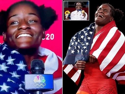 US wrestler, Tamyra Mensah-Stock puts national pride on full display after winning gold at Tokyo