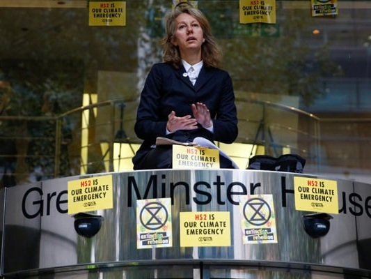 Climate Change Activist Protests Against British High-Speed Train