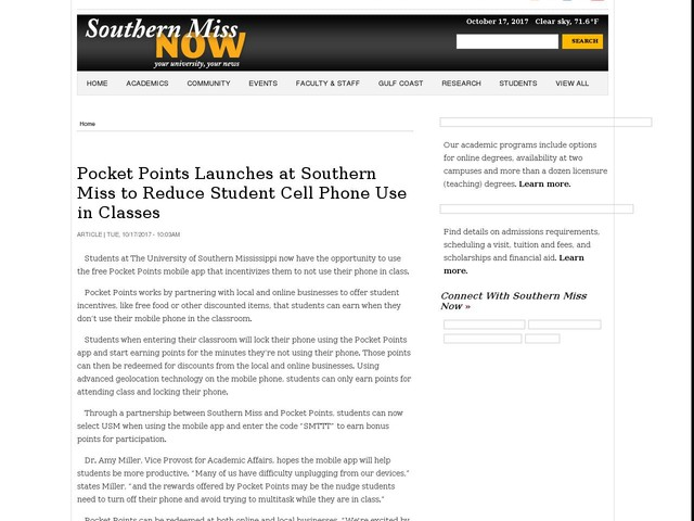 Pocket Points Launches at Southern Miss to Reduce Student Cell Phone Use in Classes