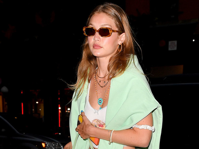 Gigi Hadid Goes Mint Green While Out With Kendall Visser