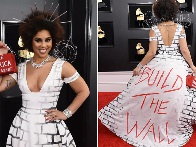 "Pro-Trump Singer Joy Villa Wore ""Build the Wall"" Dress at the 2019 Grammys"