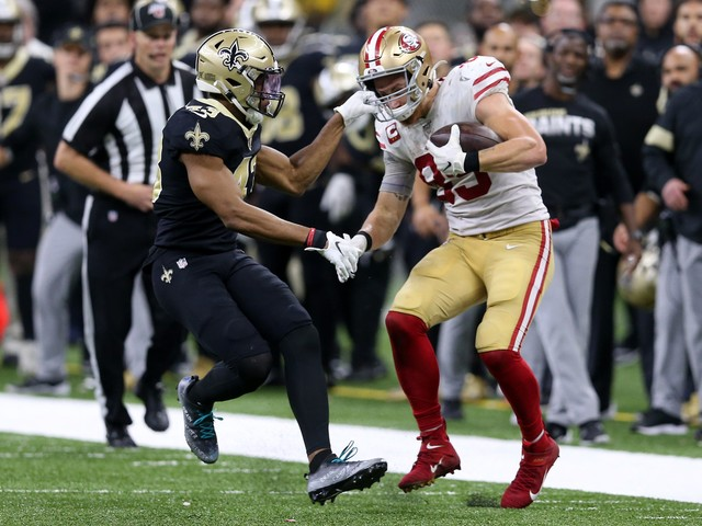 George Kittle after clutch plays in 49ers' win vs. Saints: Voodoo necklace 'did me well'