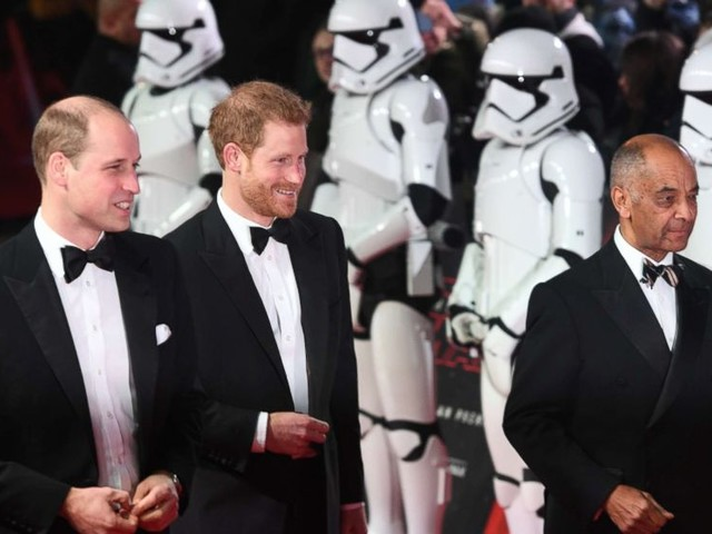 Prince William and Prince Harry attend premiere of 'Star Wars: The Last Jedi'
