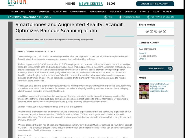 Smartphones and Augmented Reality: Scandit Optimizes Barcode Scanning...