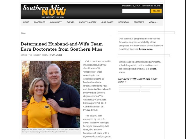 Determined Husband-and-Wife Team Earn Doctorates from Southern Miss