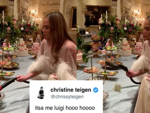 Chrissy Teigen's impression of Luigi hunting ghosts is absolutely on point
