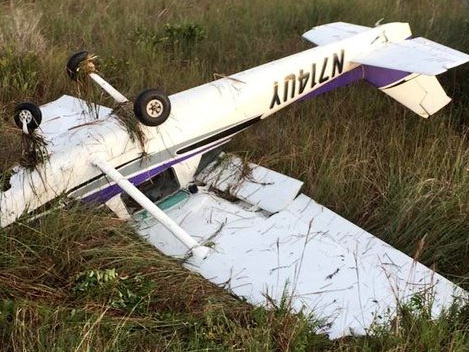 Small Plane Attempting To Land On Road Skids, Flips Into Levee In Everglades