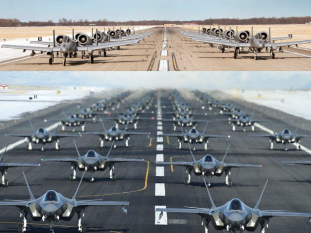 A-10 Warthogs Elephant Walk In Show Of Force, Weeks After 52 Stealth Fighters Taxied Down Runway